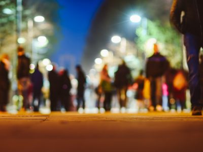 Blur image of night festival on street