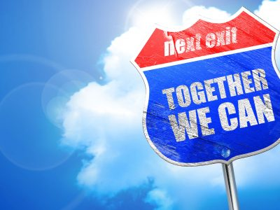 together we can, 3D rendering, blue street sign