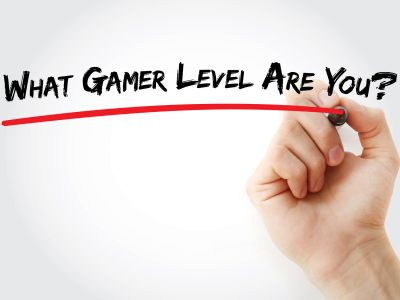 Hand writing What Gamer Level Are You? with marker, concept background