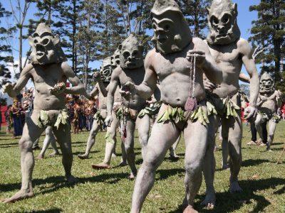 Mudman tribe in Mount Hagen festival, Papua New Guinea