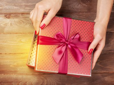 Opening christmas or valentines day gift