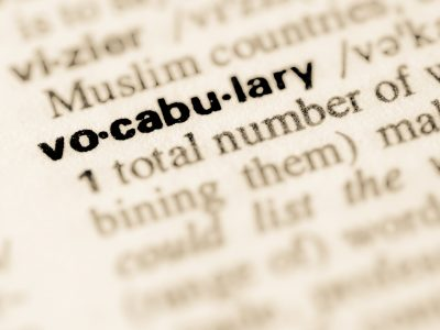 Dictionary definition of word vocabulary