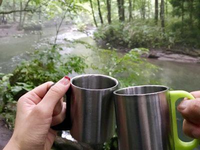 奥入瀬渓流朝のコーヒー